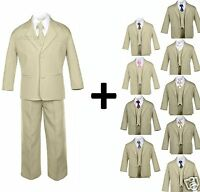 Boy Kid Teen Formal Wedding Prom Tuxedo Boy Suit Khaki + Tie 6pcs Set Size: 5-20