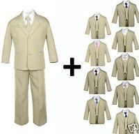 Boy Kid Teen Formal Wedding Prom Tuxedo Boy Suit Khaki + Tie 6pcs Set Size: 5-20