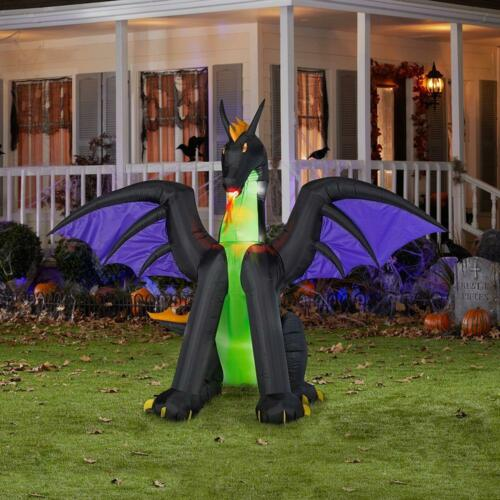 6/' Flaming Mouth Dragon Halloween Airblown Inflatable Lighted Outdoor Yard Prop