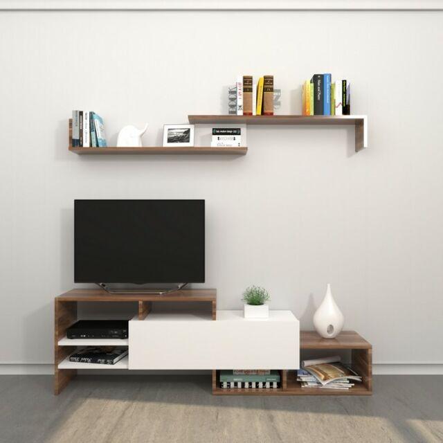 Mobile TV Con Mensola Per Soggiorno Con Ripiani Fenice 2 Bianco Legno  Homemania