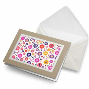 Greetings-Card-Biege-Hippy-Bright-Flower-Pattern-14801