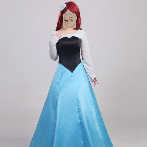 Original Mermaid Princess Ariel Blue Dress Cosplay Costume Customized Halloween