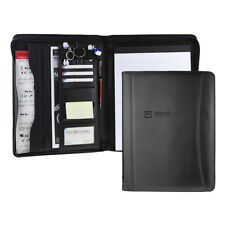 Black Professional Business Leather Padfolio Portfolio Resume Organizer Folder