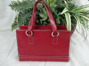 Tommy-Hilfiger-Red-Faux-Leather-Handbag-Purse-Sturdy-P011