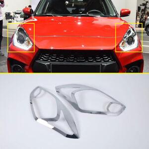 For-Suzuki-Swift-Hatchback-2018-2020-Car-Chrome-Front-Head-Light-Lamp-Cover-Trim
