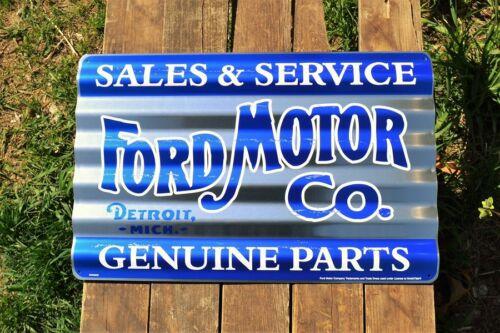 Ford Motor Co Corrugated Aluminium Metal Sign Genuine Parts Sales /& Service