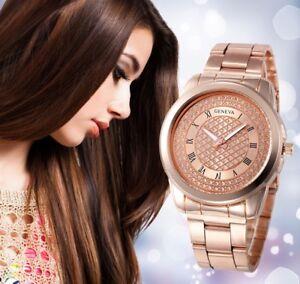 Luxury-Women-039-s-Stainless-Steel-Watch-Roman-Numberal-Ladies-Bracelet-Analog-Watch