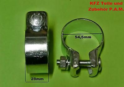 2x Auspuffschellen 54,5mm Rohrschelle Rohrverbinder Schelle Auspuffschelle