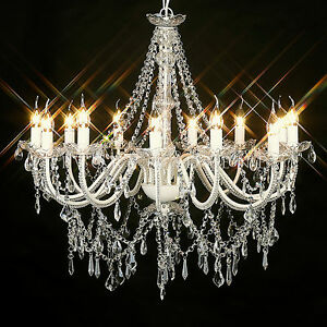 LARGE VINTAGE CHANDELIER 12 ARM VICTORIAN GLASS CRYSTAL LIGHT LAMP