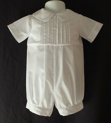 Baby Boys White Christening Gown// Baptism Outfit Romper Size 0-12 Months