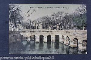Tarjeta-Postal-Antigua-Postal-Nimes-Jardin-de-La-Fuente-Los-Bains-Romanos