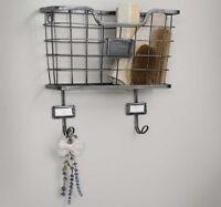 Vintage Style Metal Single Wall Basket Organizer With Hooks