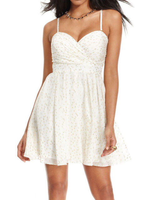 GUESS Womens Ruffled Fit /& Flare Wrap Dress