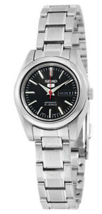 Seiko-5-SYMK17-Women-039-s-Stainless-Steel-Black-Dial-Day-Date-Automatic-Watch