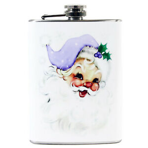 8 oz Purple Santa Steel Hip Flask Christmas Liquor Gift Retro Vntg Style Decor