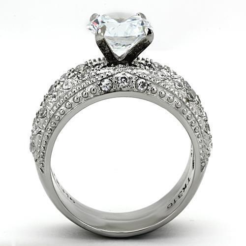 3.25 CT ROUND CUT CZ STAINLESS STEEL VINTAGE WEDDING 2 RING SET WOMEN/'S