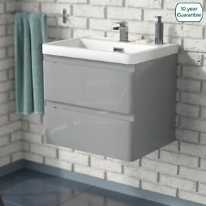 info for 5230e f8cd6 Details about Charta 600mm Bathroom Basin Sink Wall Hung Vanity Unit Light  Grey Furniture
