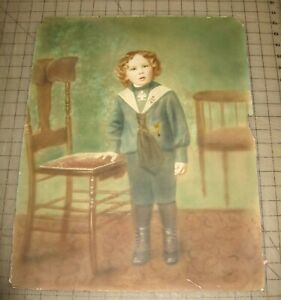 Vtg-16-034-x-20-034-LITTLE-BOY-IN-SAILOR-SUIT-Photo-Color-Print-on-Board-Hand-Tinted