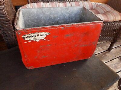 Red Vintage Cooler Woodland Traveler Ice Chest Galvanized