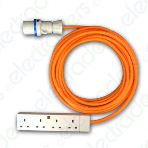 15m Orange Caravan Hook Up Cable 2.5mm 16A Blue Plug/& 4G Socket with Carry Strap