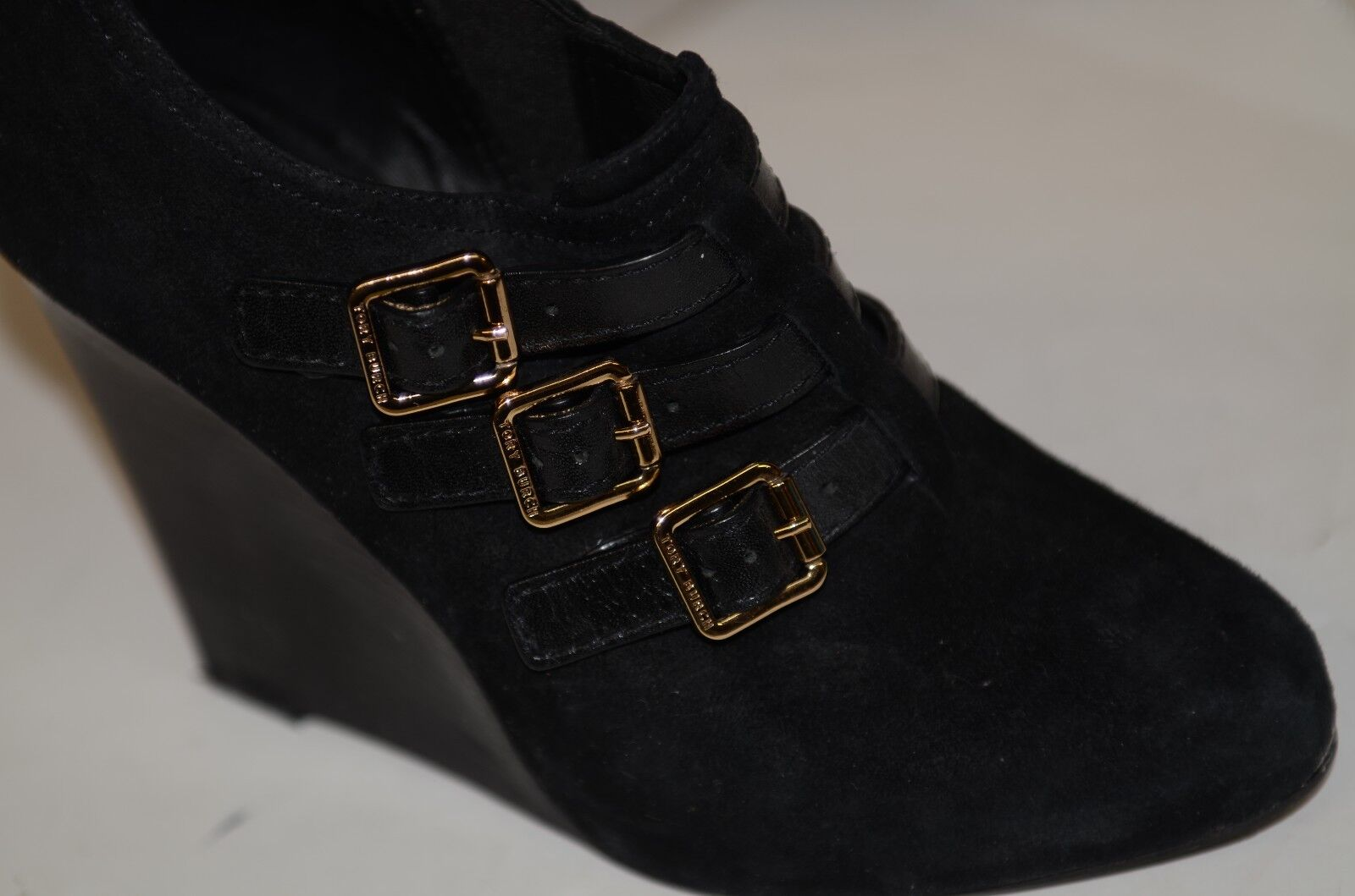 Tory Burch Sz 6.5 M Black Suede Wedge Ankle Booties Buckle Straps Boots Comfy