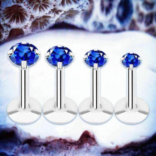 Sparkle Blue Crystal Labret Piercing Cartilage Boucle d/'oreille Tragus Barre Lèvre Anneau Helix