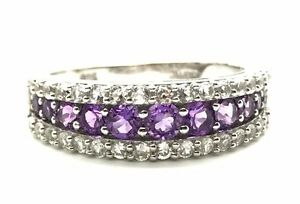 Sterling-Silver-925-Multi-Round-Purple-Amethyst-CZ-Cluster-Cocktail-Ring-Sz-7