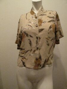 215-HARARI-WOMEN-CROPPED-SHORT-SLEEVE-TOP-MULTI-COLOR-MADE-IN-USA-SIZE-M