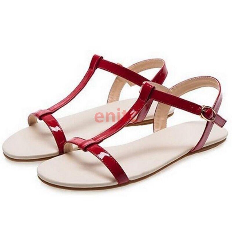 2019 Roman Open Toe T-strap Causal Beach Womens Sandals shoes Flats Plus Size