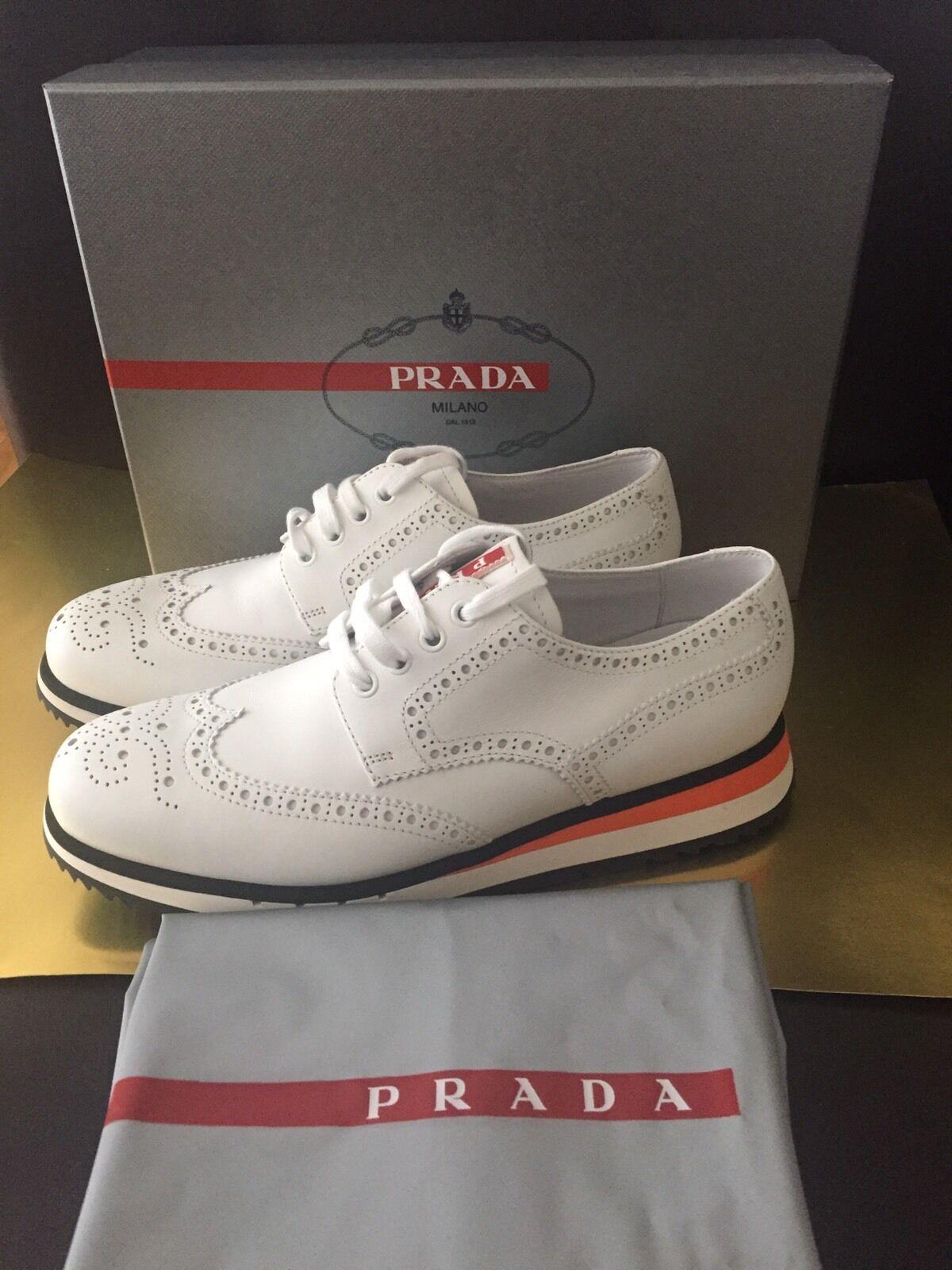 PRADA White Leather Sneakers NIB