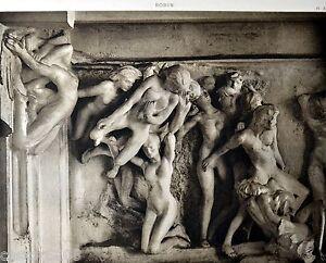 Tiefdruck Auguste Rodin Halter DER HÖLLE Tympanon 2 28,3x21,5 CM