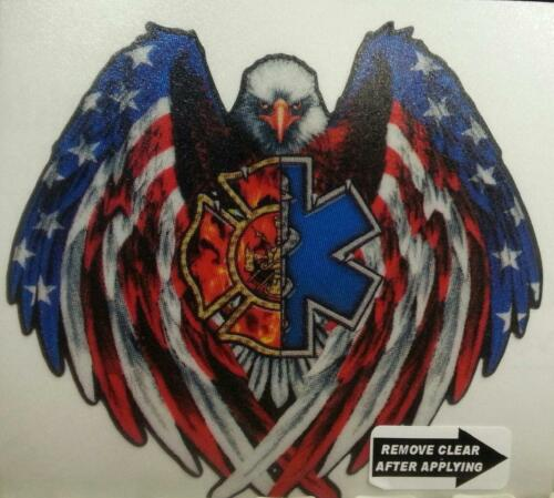 "2.25/"" wide  #EF10 EMS-FireFighter Eagle American Flag reflective decal EMT"