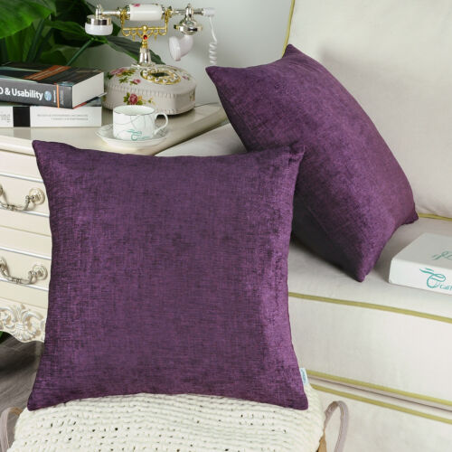 2Pcs Plum Purple Cushion Cover Pillow Shell Solid Dyed Chenille Sofa 16x16inches