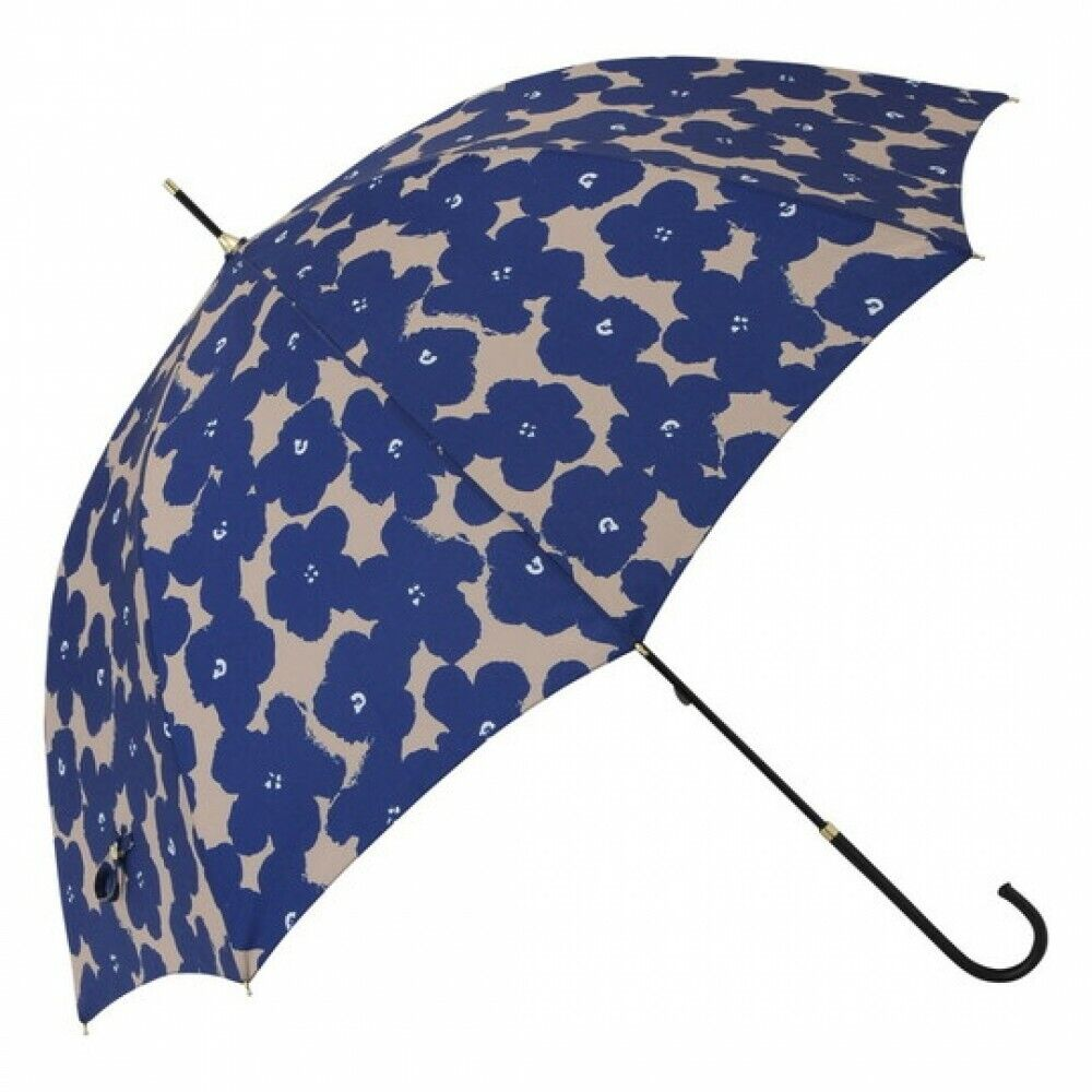 Francfranc Flower Print Long Umbrella Navy Blue UV Cut Sunshade & Rain Goods