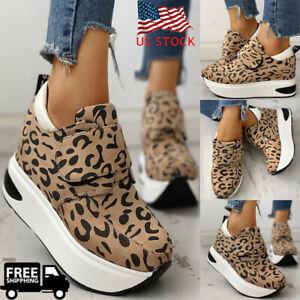 Women-Leopard-Wedge-Heel-Platform-Hook-amp-Loop-Sneakers-Casual-Shoes-Ankle-Boots-US