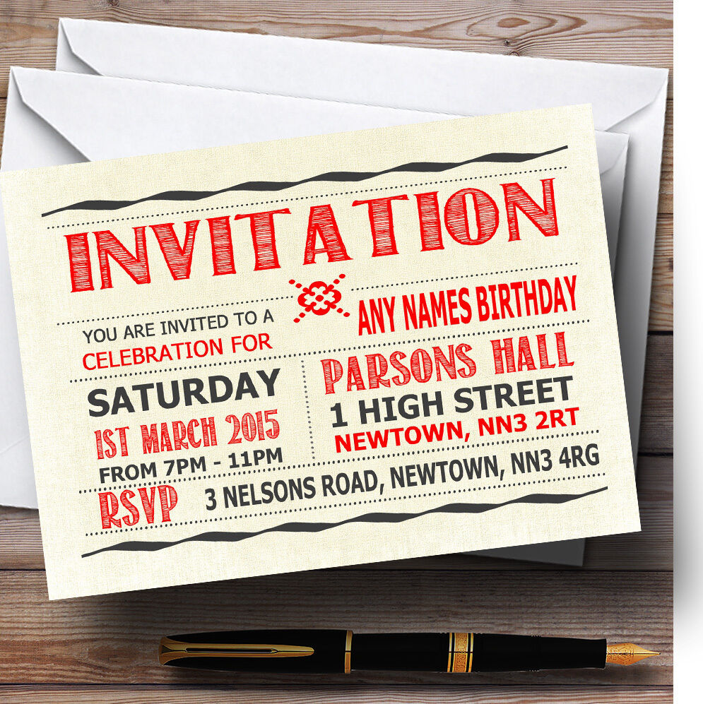 Typography Word Art rot Personalised Birthday Party Invitations