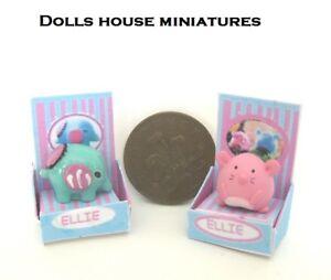 2 X Boîte Jouets éléphant Et Souris Dollshouse Objet-afficher Le Titre D'origine