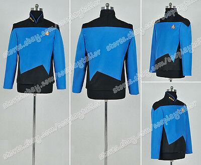 The Next Generation TNG Sciences Cosplay Costume Blue Jacket Uniform Star Trek
