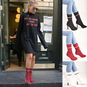 Ladies-Womens-High-Heel-Sock-Ankle-Boots-Knit-Stretch-Pull-On-Casual-Shoes-Sizes