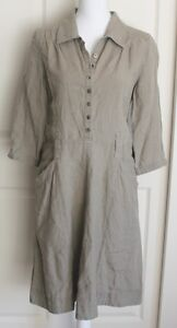 J-Jill-Green-100-Linen-3-4-Sleeve-Casual-Lightweight-Shirt-Dress-Petite-Sz-10