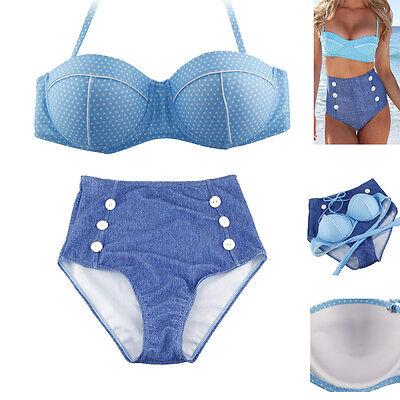 Cute Retro Swimsuit Swimwear Bandeau Vintage Pin Up High Waist Women Bikini Set