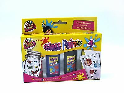 GLASS PAINT BOX OF 4 ART BOX WASHABLE FAST DRY COLOURS