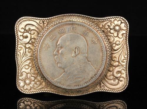 "China Handmade Hollow Out Inlay""Yuan big head""Tibetan Silver Belt Buckle"