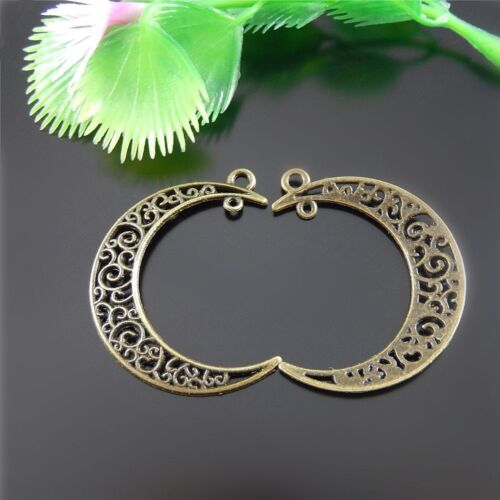 Vintage Bronze Alloy Hollow Moon Shaped Pendants Craft Findings Charms 28x 51529