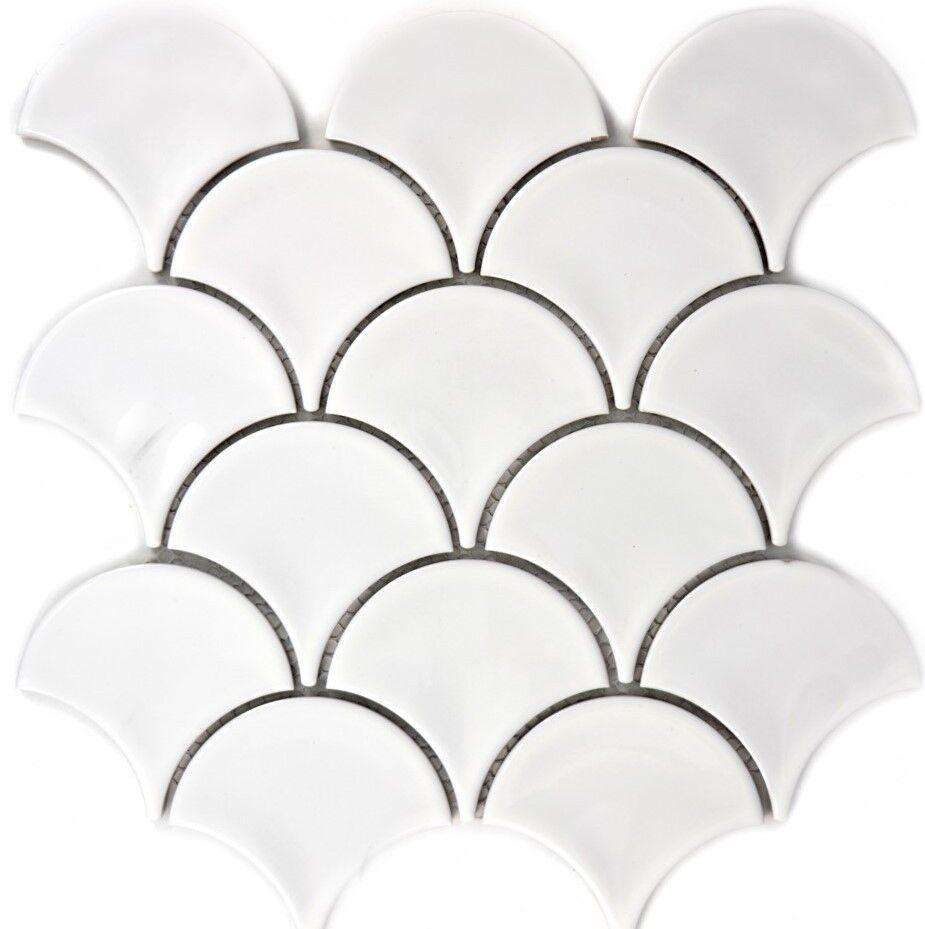 FAN Mosaik Fliese Keramik Fächer weiß glänzend Fliesenspiegel 13-FS01_f  10Matte