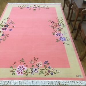 YILONG-5-5-039-x8-039-Pink-Hand-knotted-Wool-Rug-Soft-Warm-Chinese-Art-Deco-Carpet