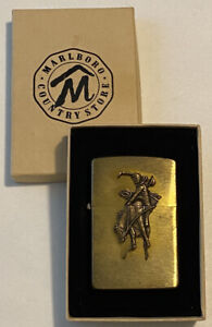 1994 ZIPPO Marlboro Country Store Brass Lighter Cowboy on Bucking Bronco in Box