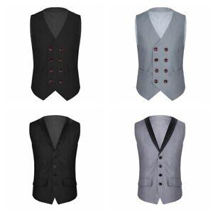 Fashion-Men-V-Neck-Business-Formal-Dress-Vest-Top-Suit-Slim-Fit-Tuxedo-Waistcoat