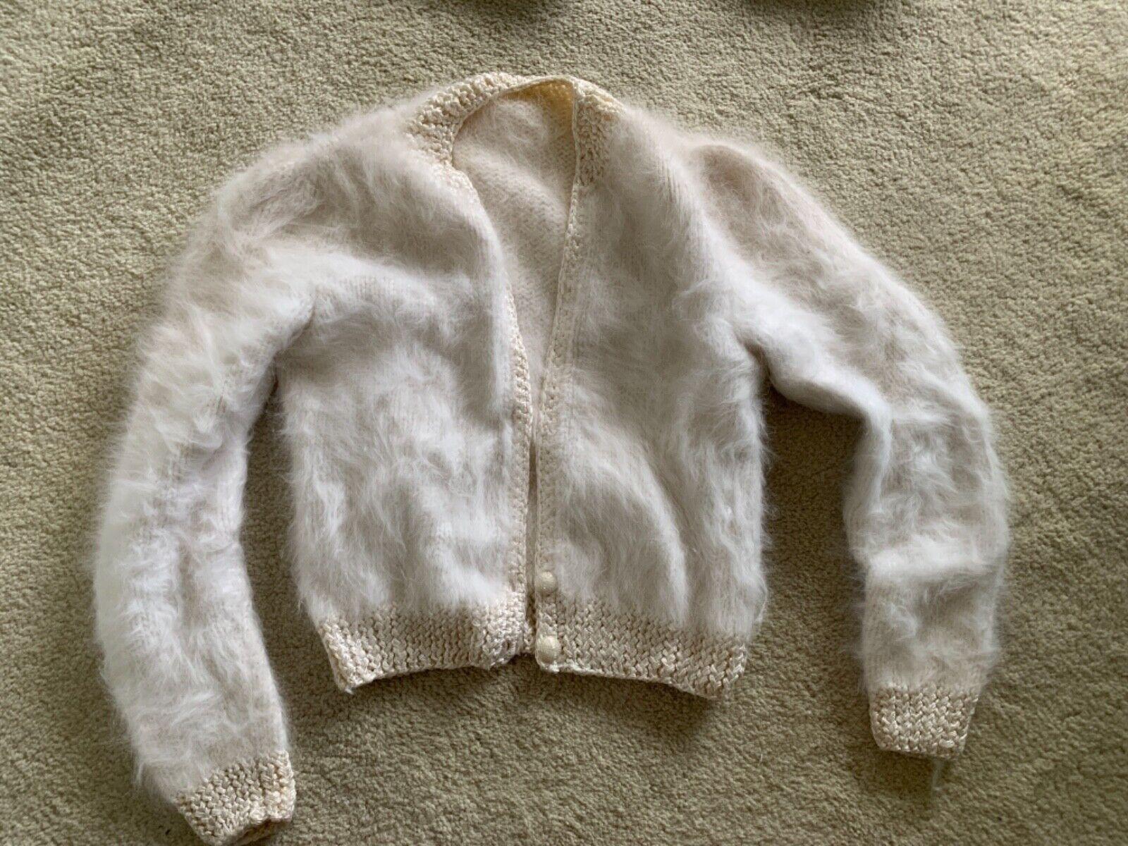 de moda Hecho a mano blancoo Boucle Suéter Suéter Suéter Talla Pequeña Y Angora  moda