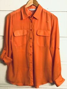 PETER-NYGARD-Roll-Tab-Long-Sleeve-Button-Front-Blouse-Top-Womens-Sz-8-Orange